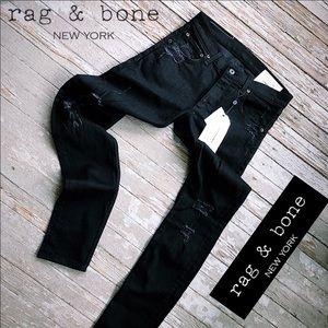 Rag & bone black distressed skinny jeans size 32